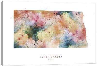 North Dakota Watercolor State Map Canvas Art Print