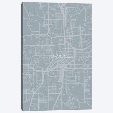 Atlanta City Map Simple Color 3-Piece Canvas #WDA34} by WallDecorAddict Canvas Art Print