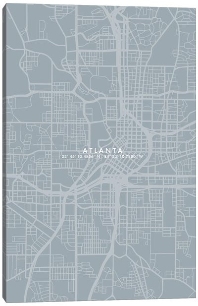 Atlanta City Map Simple Color Canvas Art Print