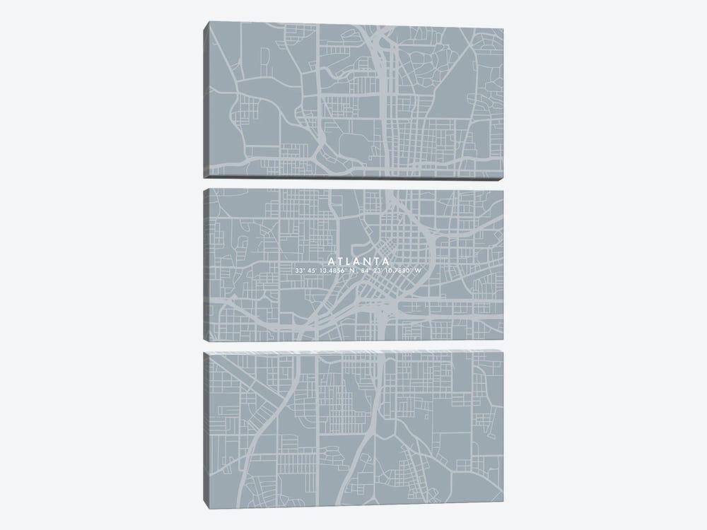 Atlanta City Map Simple Color by WallDecorAddict 3-piece Canvas Artwork