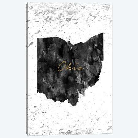 Ohio Black And White Gold Canvas Print #WDA350} by WallDecorAddict Art Print