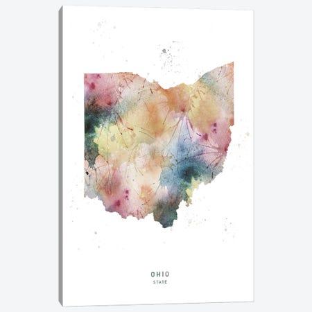 Ohio State Watercolor Canvas Print #WDA353} by WallDecorAddict Canvas Art Print