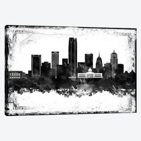 Oklahoma Black And White Framed Skylines Canvas Print #WDA356} by WallDecorAddict Canvas Wall Art