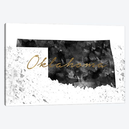 Oklahoma Black And White Gold 3-Piece Canvas #WDA357} by WallDecorAddict Canvas Wall Art