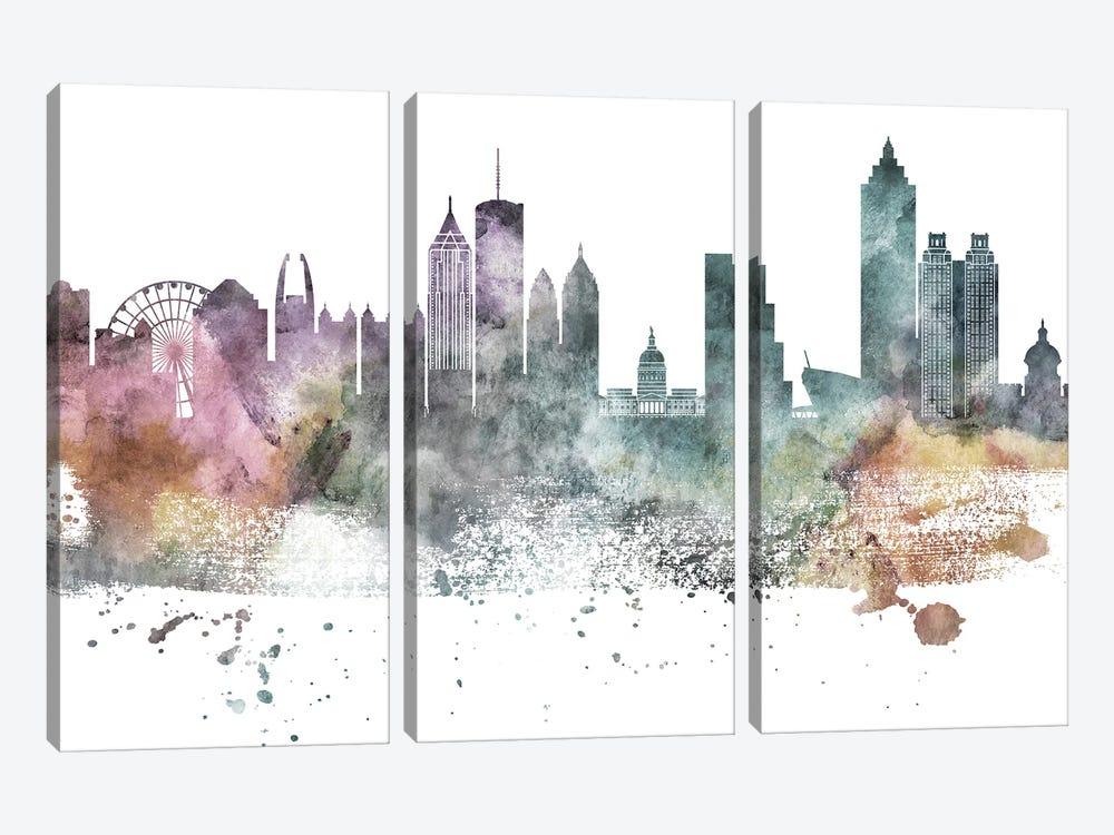 Atlanta Pastel Skylines by WallDecorAddict 3-piece Canvas Art Print