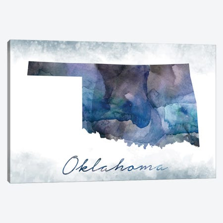 Oklahoma State Bluish Canvas Print #WDA360} by WallDecorAddict Canvas Artwork