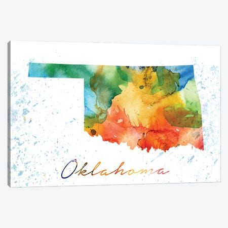 Oklahoma State Colorful 3-Piece Canvas #WDA361} by WallDecorAddict Canvas Wall Art