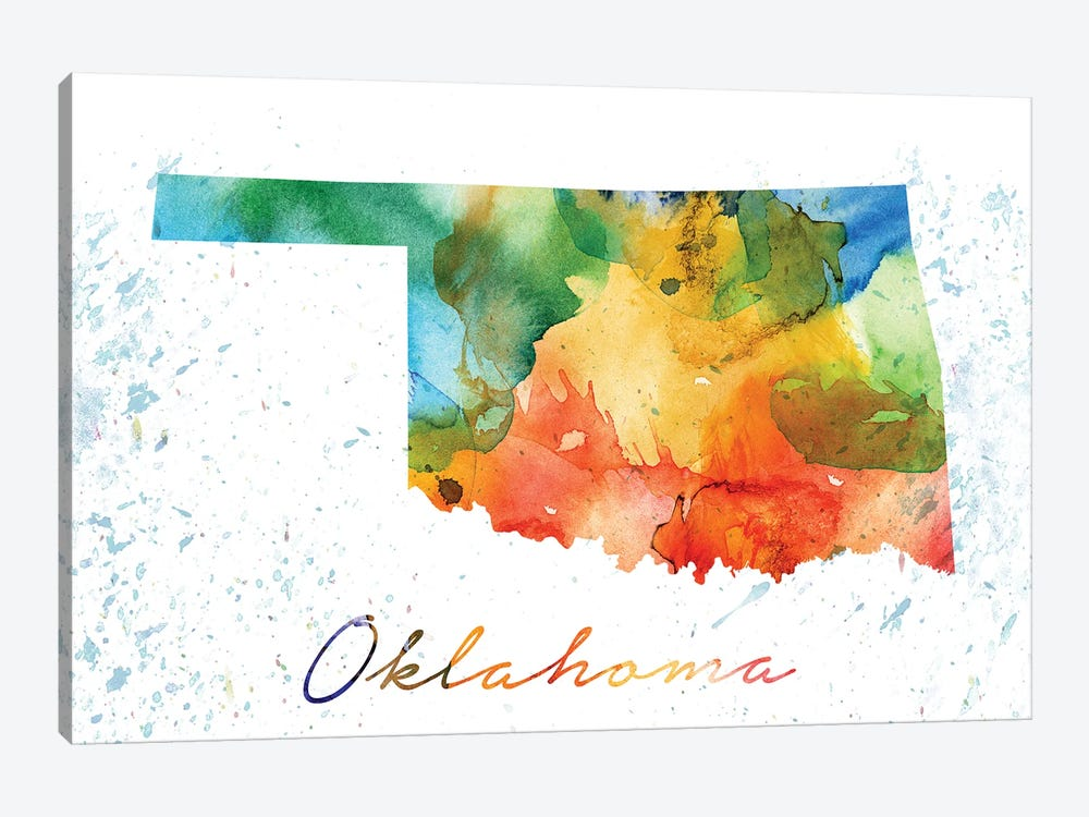 Oklahoma State Colorful by WallDecorAddict 1-piece Canvas Art