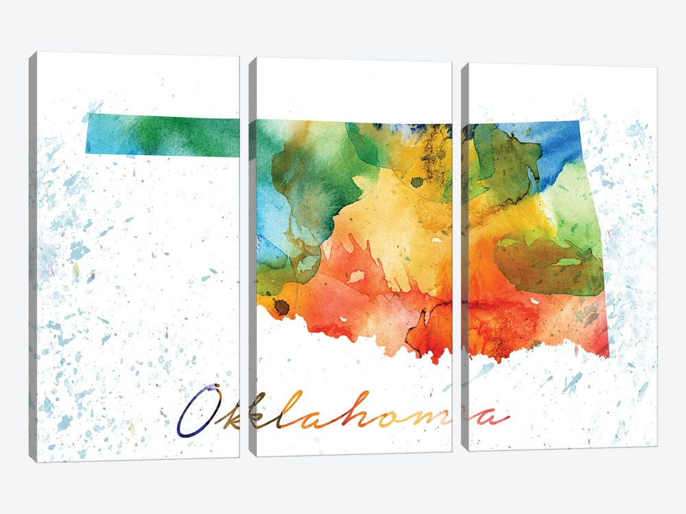 Oklahoma State Colorful by WallDecorAddict 3-piece Canvas Art