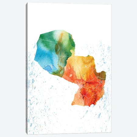 Paraguay Colorfulmap Canvas Print #WDA368} by WallDecorAddict Canvas Artwork