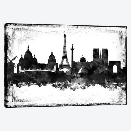 Paris Black And White Framed Skylines Canvas Print #WDA370} by WallDecorAddict Canvas Art Print
