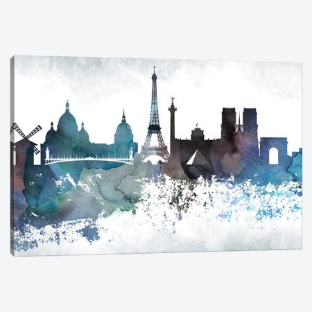 Paris Bluish Skylines Canvas Print #WDA371} by WallDecorAddict Canvas Art Print