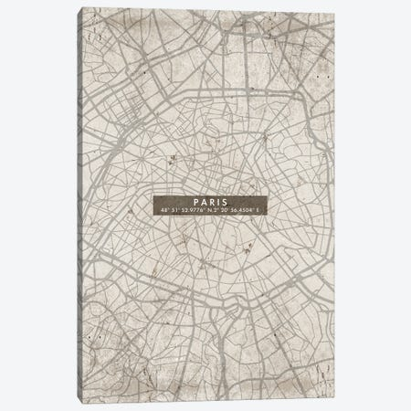 Paris City Map Abstract Canvas Print #WDA372} by WallDecorAddict Canvas Art Print