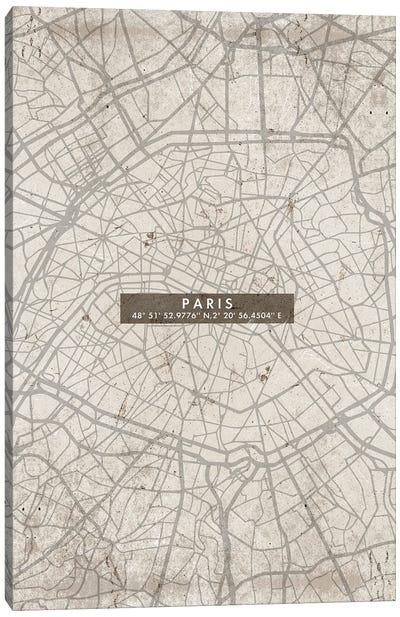 Paris City Map Abstract Canvas Art Print