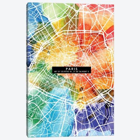 Paris City Map Colorful Canvas Print #WDA373} by WallDecorAddict Canvas Art Print
