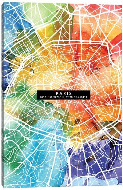Paris City Map Colorful Canvas Art Print
