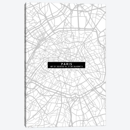 Paris City Map Minimal Canvas Print #WDA374} by WallDecorAddict Canvas Art