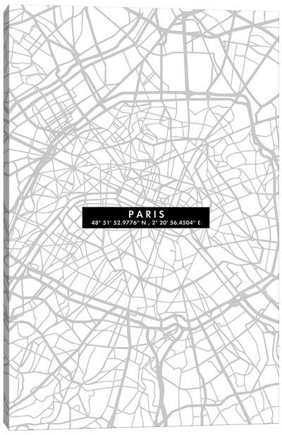 Paris City Map Minimal Canvas Art Print