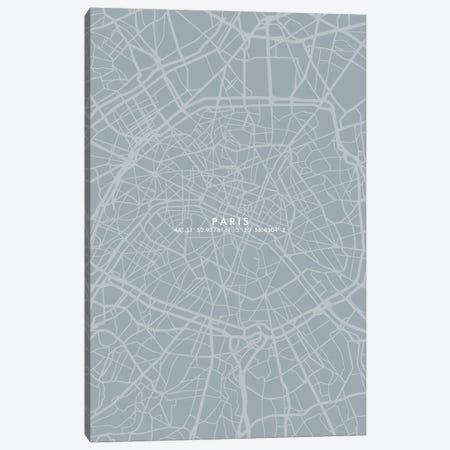 Paris City Map Simple Color 3-Piece Canvas #WDA375} by WallDecorAddict Canvas Artwork