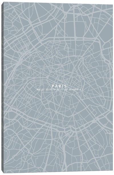 Paris City Map Simple Color Canvas Art Print