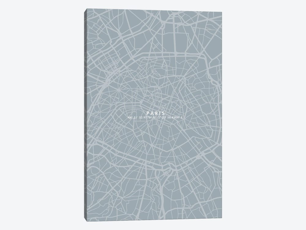 Paris City Map Simple Color by WallDecorAddict 1-piece Canvas Art Print