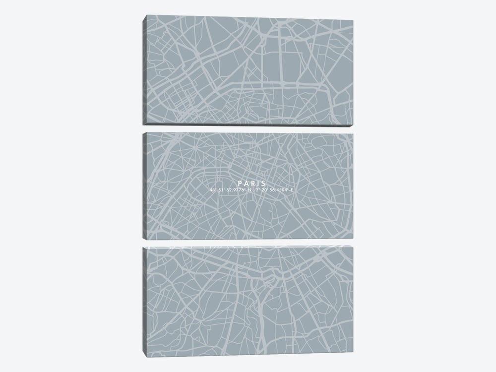 Paris City Map Simple Color by WallDecorAddict 3-piece Canvas Print