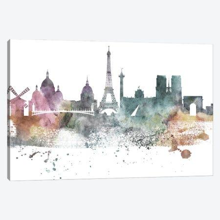 Paris Pastel Skylines Canvas Print #WDA376} by WallDecorAddict Canvas Artwork