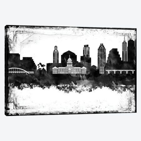 Austin Black And White Framed Skylines Canvas Print #WDA37} by WallDecorAddict Canvas Art Print