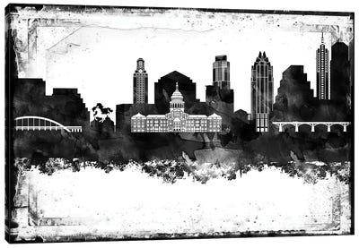 Austin Black And White Framed Skylines Canvas Art Print