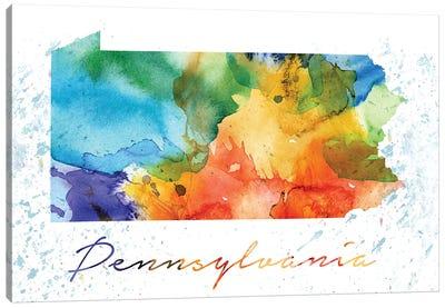 Pennsylvania State Colorful Canvas Art Print