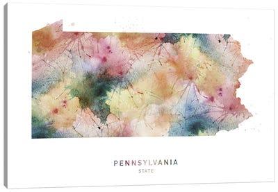Pennsylvania Watercolor State Map Canvas Art Print