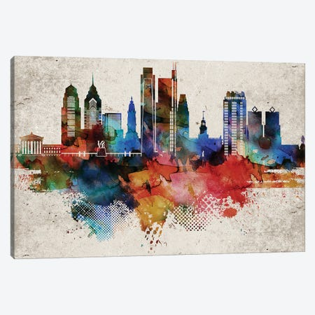 Philadelphia Abstract Canvas Print #WDA382} by WallDecorAddict Canvas Wall Art
