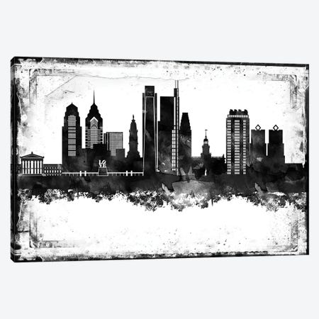 Philadelphia Black And White Framed Skylines Canvas Print #WDA383} by WallDecorAddict Canvas Art