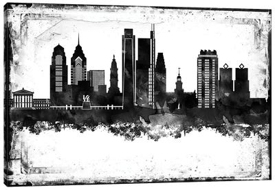 Philadelphia Black And White Framed Skylines Canvas Art Print