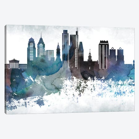 Philadelphia Bluish Skylines 3-Piece Canvas #WDA384} by WallDecorAddict Canvas Print