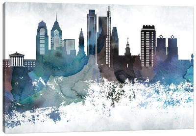 Philadelphia Bluish Skylines Canvas Art Print