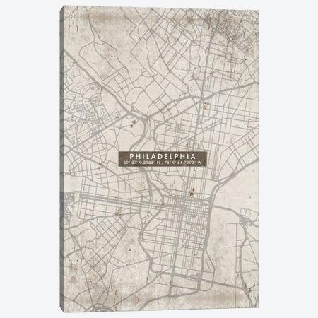 Philadelphia City Map Abstract Canvas Print #WDA385} by WallDecorAddict Canvas Print