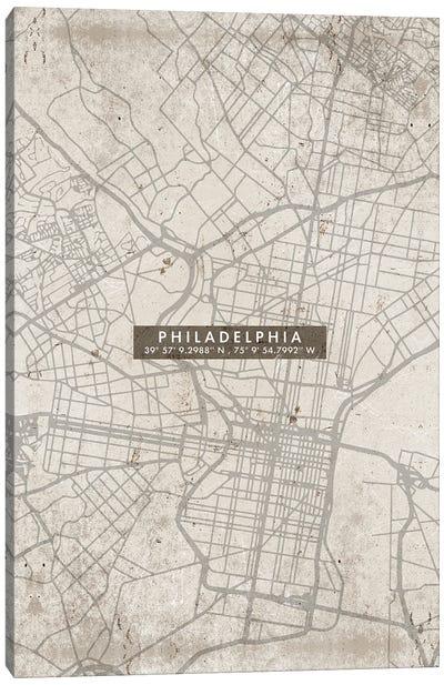 Philadelphia City Map Abstract Canvas Art Print