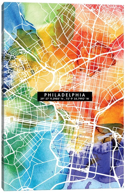 Philadelphia City Map Colorful Canvas Art Print
