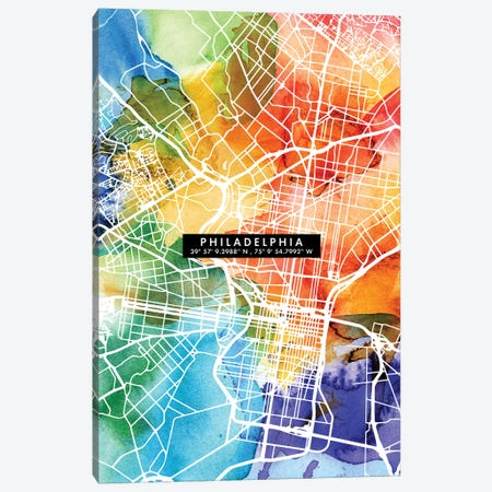 Philadelphia City Map Colorful Canvas Print #WDA386} by WallDecorAddict Canvas Art Print