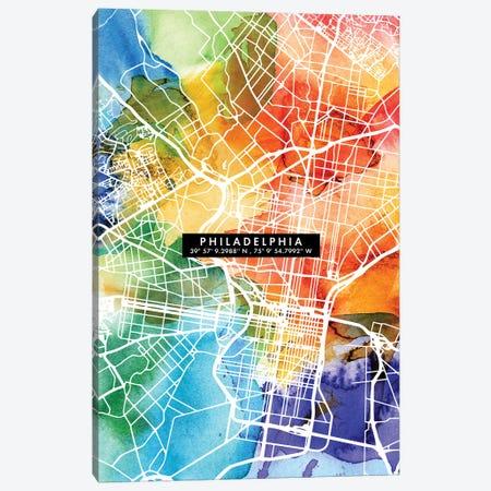 Philadelphia City Map Colorful Canvas Print #WDA386} by WallDecorAddict Canvas Art Print