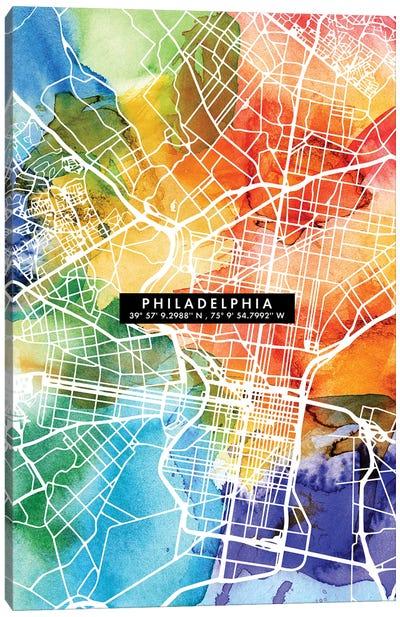Philadelphia City Map Colorful Canvas Art Print