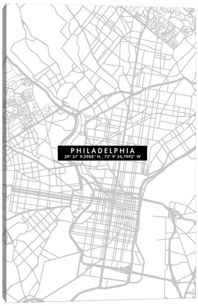 Philadelphia City Map Minimal Canvas Art Print