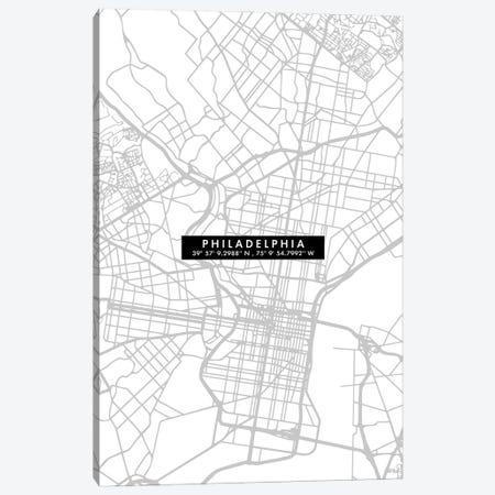 Philadelphia City Map Minimal Canvas Print #WDA387} by WallDecorAddict Canvas Art Print