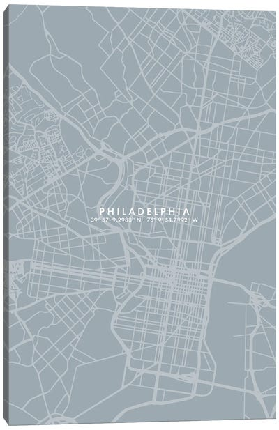 Philadelphia City Map Simple Color Canvas Art Print