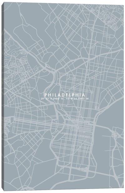 Philadelphia City Map Simple Color Canvas Art Print