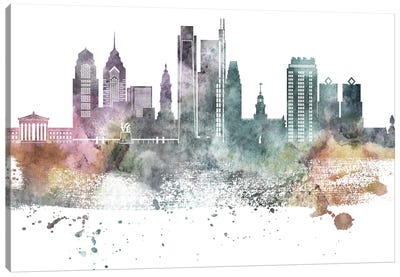 Philadelphia Pastel Skylines Canvas Art Print