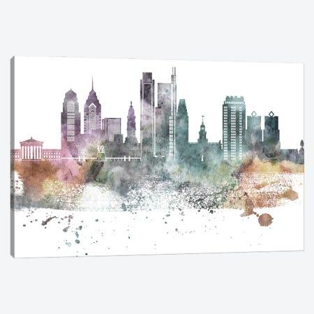 Philadelphia Pastel Skylines Canvas Print #WDA389} by WallDecorAddict Canvas Artwork