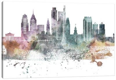 Philadelphia Pastel Skylines Canvas Art Print