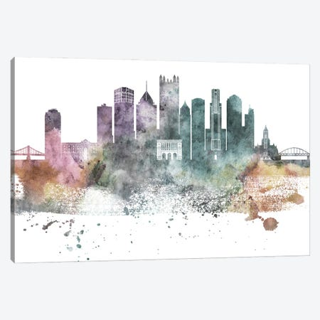 Pittsburgh Pastel Skylines Canvas Print #WDA394} by WallDecorAddict Canvas Wall Art